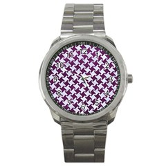 Houndstooth2 White Marble & Purple Leather Sport Metal Watch by trendistuff
