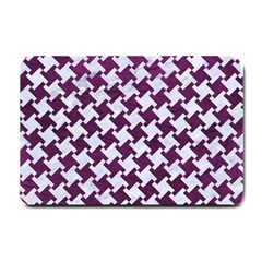 Houndstooth2 White Marble & Purple Leather Small Doormat  by trendistuff