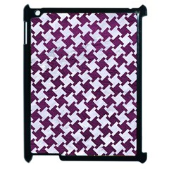 Houndstooth2 White Marble & Purple Leather Apple Ipad 2 Case (black) by trendistuff