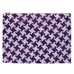 Houndstooth2 White Marble & Purple Leather Cosmetic Bag (xxl)  by trendistuff