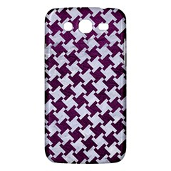 Houndstooth2 White Marble & Purple Leather Samsung Galaxy Mega 5 8 I9152 Hardshell Case  by trendistuff