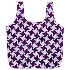 Houndstooth2 White Marble & Purple Leather Full Print Recycle Bags (l)  by trendistuff