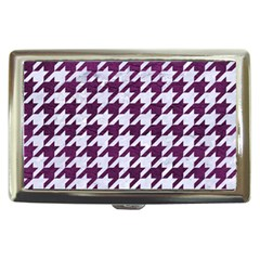 Houndstooth1 White Marble & Purple Leather Cigarette Money Cases by trendistuff