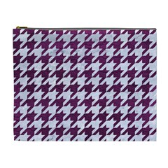 Houndstooth1 White Marble & Purple Leather Cosmetic Bag (xl) by trendistuff