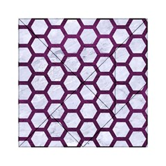 Hexagon2 White Marble & Purple Leather (r) Acrylic Tangram Puzzle (6  X 6 ) by trendistuff