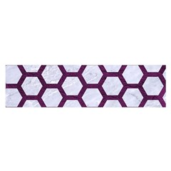 Hexagon2 White Marble & Purple Leather (r) Satin Scarf (oblong) by trendistuff