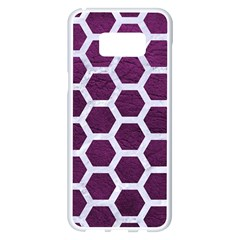Hexagon2 White Marble & Purple Leather Samsung Galaxy S8 Plus White Seamless Case