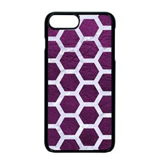 Hexagon2 White Marble & Purple Leather Apple Iphone 8 Plus Seamless Case (black)