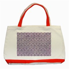 Hexagon1 White Marble & Purple Leather (r) Classic Tote Bag (red) by trendistuff