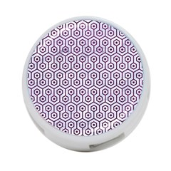 Hexagon1 White Marble & Purple Leather (r) 4 Port Usb Hub (one Side) by trendistuff
