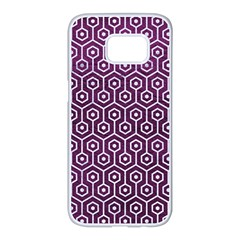 Hexagon1 White Marble & Purple Leather Samsung Galaxy S7 Edge White Seamless Case