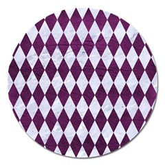 Diamond1 White Marble & Purple Leather Magnet 5  (round) by trendistuff