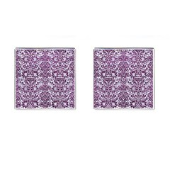 Damask2 White Marble & Purple Leather (r) Cufflinks (square) by trendistuff