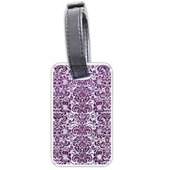 Damask2 White Marble & Purple Leather (r) Luggage Tags (one Side)  by trendistuff