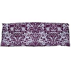 Damask2 White Marble & Purple Leather (r) Body Pillow Case (dakimakura) by trendistuff