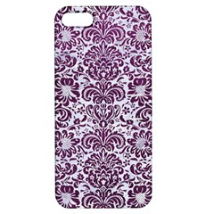 Damask2 White Marble & Purple Leather (r) Apple Iphone 5 Hardshell Case With Stand by trendistuff