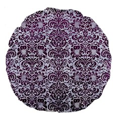 Damask2 White Marble & Purple Leather (r) Large 18  Premium Flano Round Cushions by trendistuff