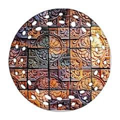 Wooden Blocks Detail Ornament (round Filigree) by Sapixe
