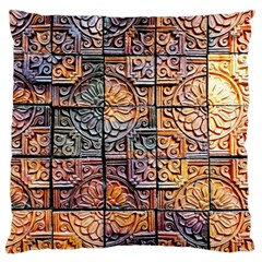 Wooden Blocks Detail Large Flano Cushion Case (two Sides) by Sapixe