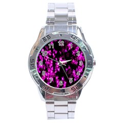 Abstract Background Purple Bright Stainless Steel Analogue Watch