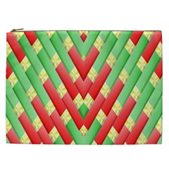 Christmas Geometric 3d Design Cosmetic Bag (xxl)  by Sapixe
