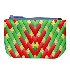 Christmas Geometric 3d Design Large Coin Purse by Sapixe