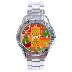 Christmas Design Seamless Pattern Stainless Steel Analogue Watch