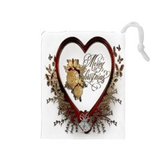 Christmas Décor Decoration Winter Drawstring Pouches (medium)  by Sapixe