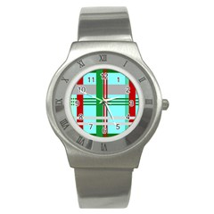 Christmas Plaid Backgrounds Plaid Stainless Steel Watch by Sapixe