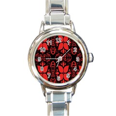 Christmas Red And Black Background Round Italian Charm Watch by Sapixe
