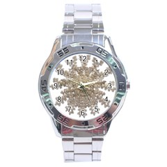 Gold Golden Gems Gemstones Ruby Stainless Steel Analogue Watch