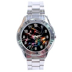 Lights Star Sky Graphic Night Stainless Steel Analogue Watch