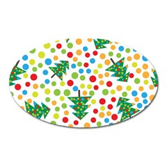 Pattern Circle Multi Color Oval Magnet by Sapixe