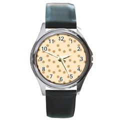 Pattern Gingerbread Star Round Metal Watch