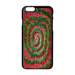 Red Green Swirl Twirl Colorful Apple Iphone 6/6s Black Enamel Case by Sapixe