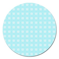 Snowflakes Paper Christmas Paper Magnet 5  (round) by Sapixe