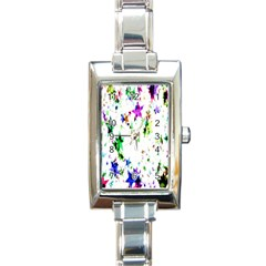 Star Abstract Advent Christmas Rectangle Italian Charm Watch by Sapixe