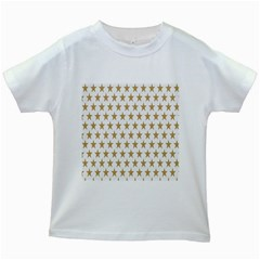 Star Background Gold White Kids White T Shirts by Sapixe