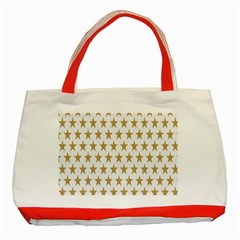 Star Background Gold White Classic Tote Bag (red)