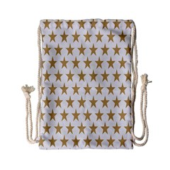 Star Background Gold White Drawstring Bag (small) by Sapixe