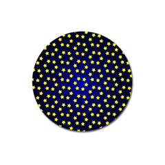 Star Christmas Red Yellow Magnet 3  (round) by Sapixe