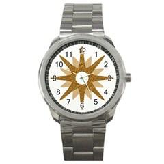Star Golden Glittering Yellow Rays Sport Metal Watch by Sapixe