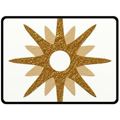 Star Golden Glittering Yellow Rays Fleece Blanket (large)