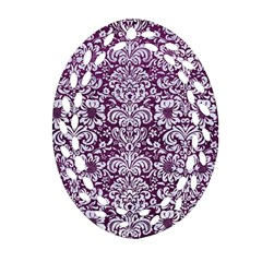 Damask2 White Marble & Purple Leather Ornament (oval Filigree) by trendistuff