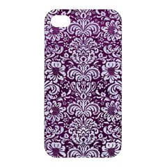 Damask2 White Marble & Purple Leather Apple Iphone 4/4s Hardshell Case by trendistuff