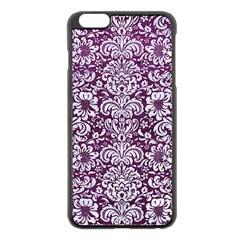 Damask2 White Marble & Purple Leather Apple Iphone 6 Plus/6s Plus Black Enamel Case by trendistuff