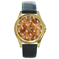 Stars Brown Background Shiny Round Gold Metal Watch by Sapixe