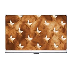 Stars Brown Background Shiny Business Card Holders by Sapixe