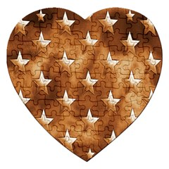 Stars Brown Background Shiny Jigsaw Puzzle (heart) by Sapixe