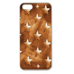 Stars Brown Background Shiny Apple Seamless Iphone 5 Case (clear) by Sapixe